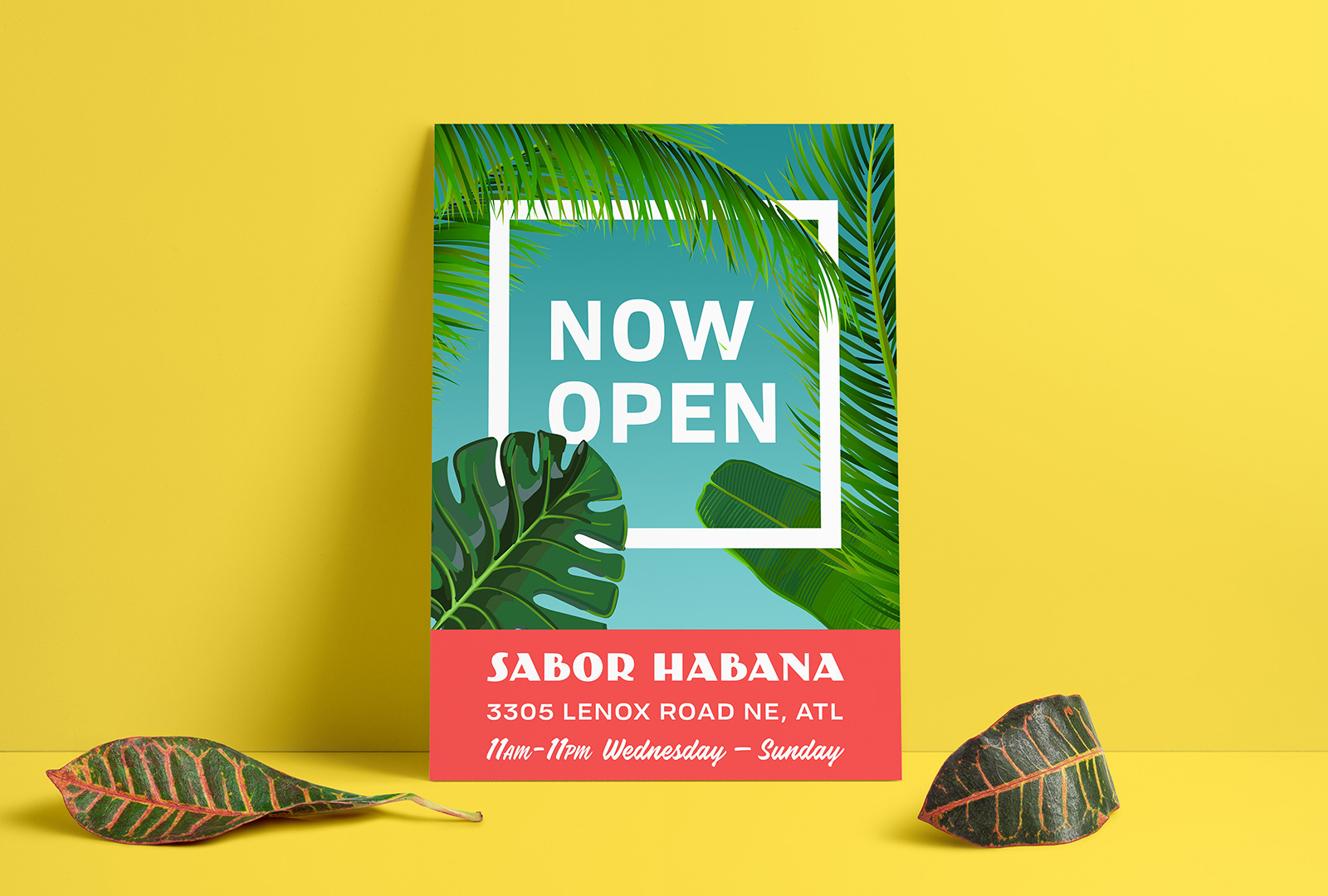 Restaurant Now Open Poster Design for Sabor Habana
